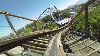 New Mexico Rattler Roller Coaster POV Cliffs Amusement Park Woodie