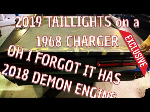 DODGE DEMON BUILD. 2019 CHALLENGER TAILIGHTS INSTALLED ON OUR 1968 CHARGER