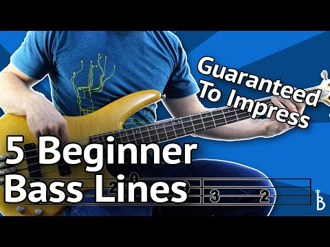 5 Beginner Bass Lines - Guaranteed To Impress [With Tabs On Screen] Mp3