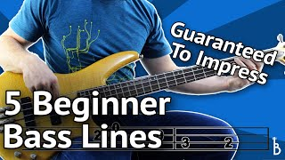 5 Beginner Bass Lines - Guaranteed To Impress [With Tabs On Screen]