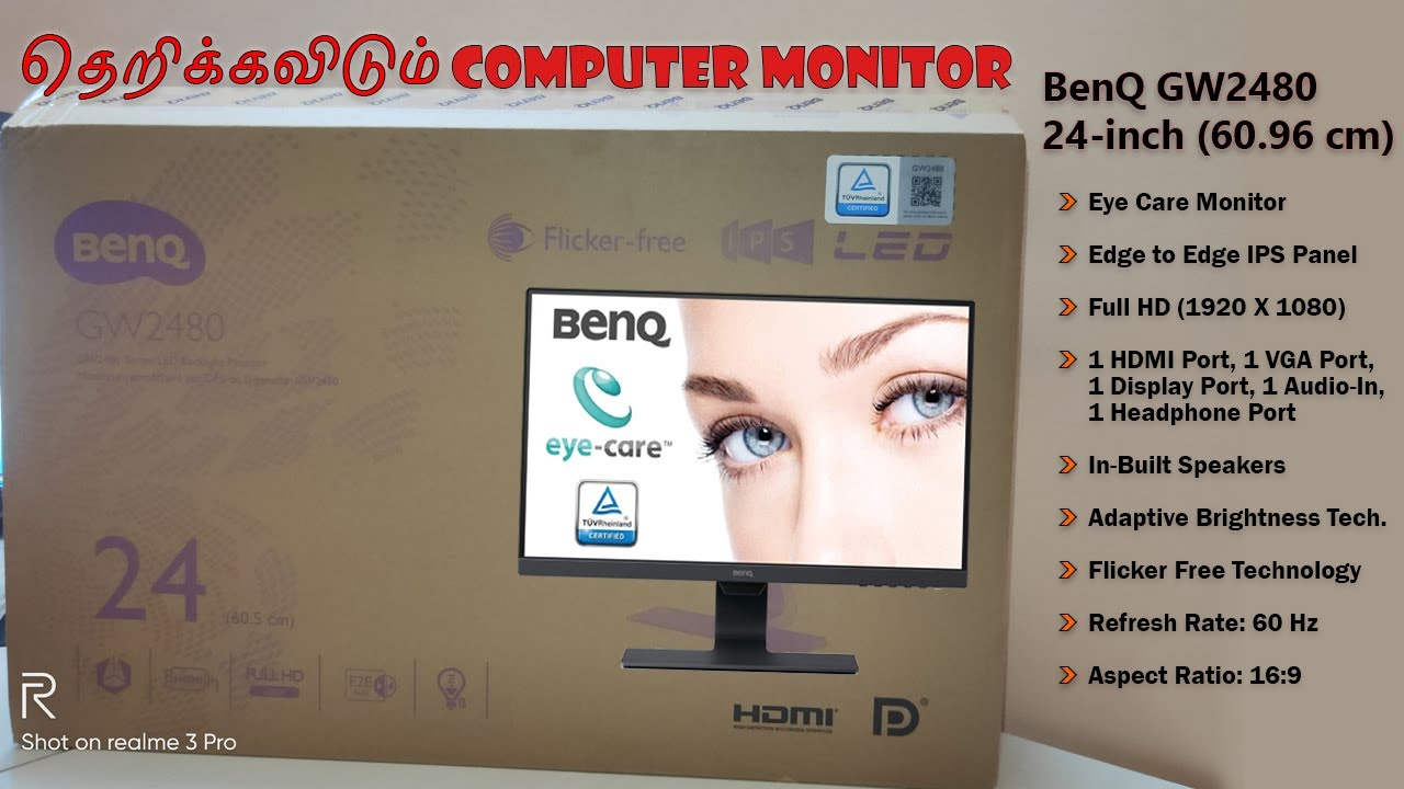 BenQ GW2480 24inch Monitor unbox and review Tamil - Best ...