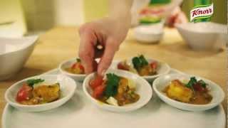 Petites bouchées cuillères de crevettes au safran | Knorr