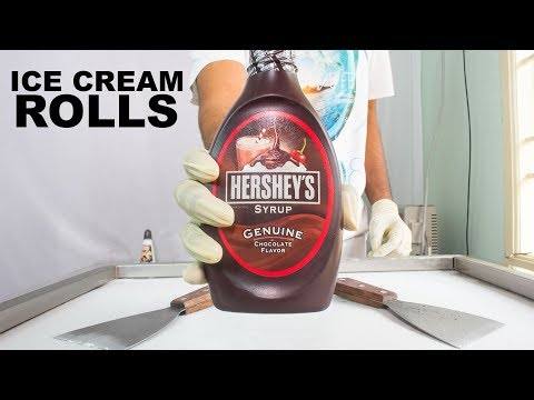 HERSHEYS Chocolate Syrup ICE CREAM ROLLS - SATISFYING ASMR VIDEO