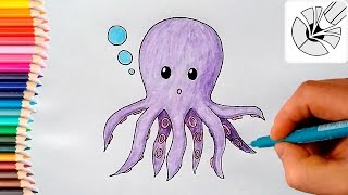 Cute Drawings - How to Draw a Cute Octopus - Draw and Color