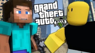 GTA 5 Mods - MINECRAFT MOD VS ROBLOX MOD (GTA 5 PC Mods Gameplay)