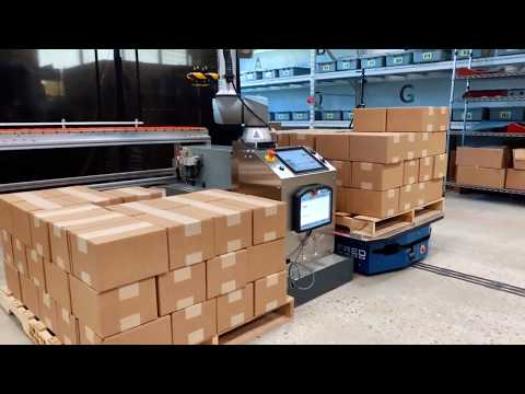 Palletizing on an AGV with PalletizUR and FRED - YouTube