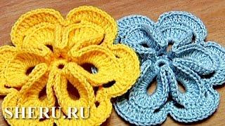 Free Crochet 3D Flower Tutorial 30 Как связать объемный цветок(Вязание этого цветка Вам доставит массу удовольствия. Изготовление не займет много времени, а готовый объе..., 2013-06-21T10:48:24.000Z)