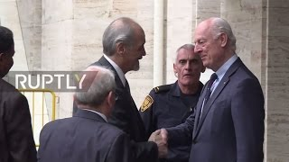 Switzerland  De Mistura greets govt  delegation for latest round of Syria peace talks