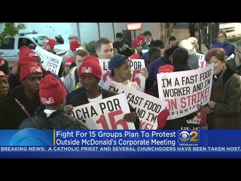 Fight For $15 Protesters Gather At McDonald's Shareholder Meeting