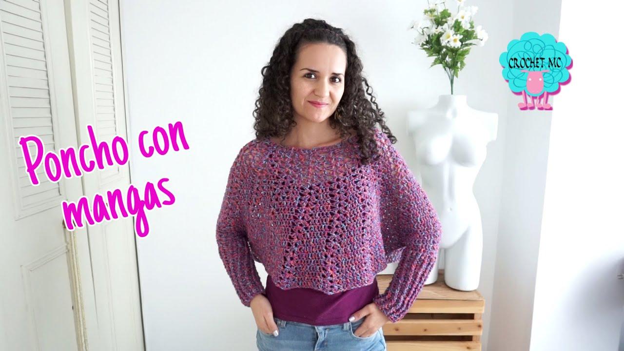 Poncho Con Mangas A Crochet Segunda Parte Youtube