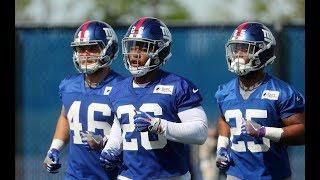 Saquon Barkley runs drills at Giants OTAs