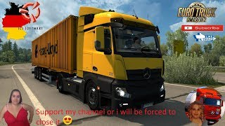 Euro Truck Simulator 2 (1.37)   Mercedes-Benz Actros MP4 fix v1.3 by Galimin Delivery in Germany Sommer Container Trailer FMOD ON and Open Windows Naturalux Graphics and Weather + DLC's & Mods https://forum.scssoft.com/viewtopic.php?f=35&t=276682  Support