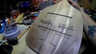 Carving a monogrammed cutting board
