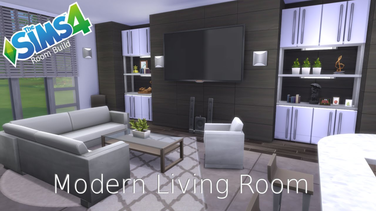 The sims 4 room build modern living room youtube for Modern living room sims 4
