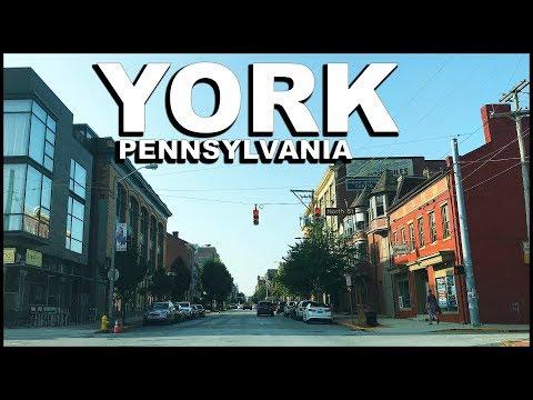 YORK Pennsylvania DOWNTOWN City Drive & Tour