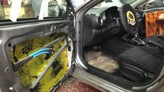 Kia Cerato трёхслойная шумоизоляция дверей, родная размером с альбомный лист не устраивала