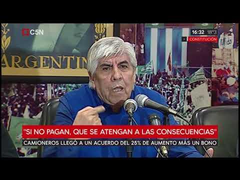 Hugo Moyano anunció un acuerdo salarial mayor al 25%