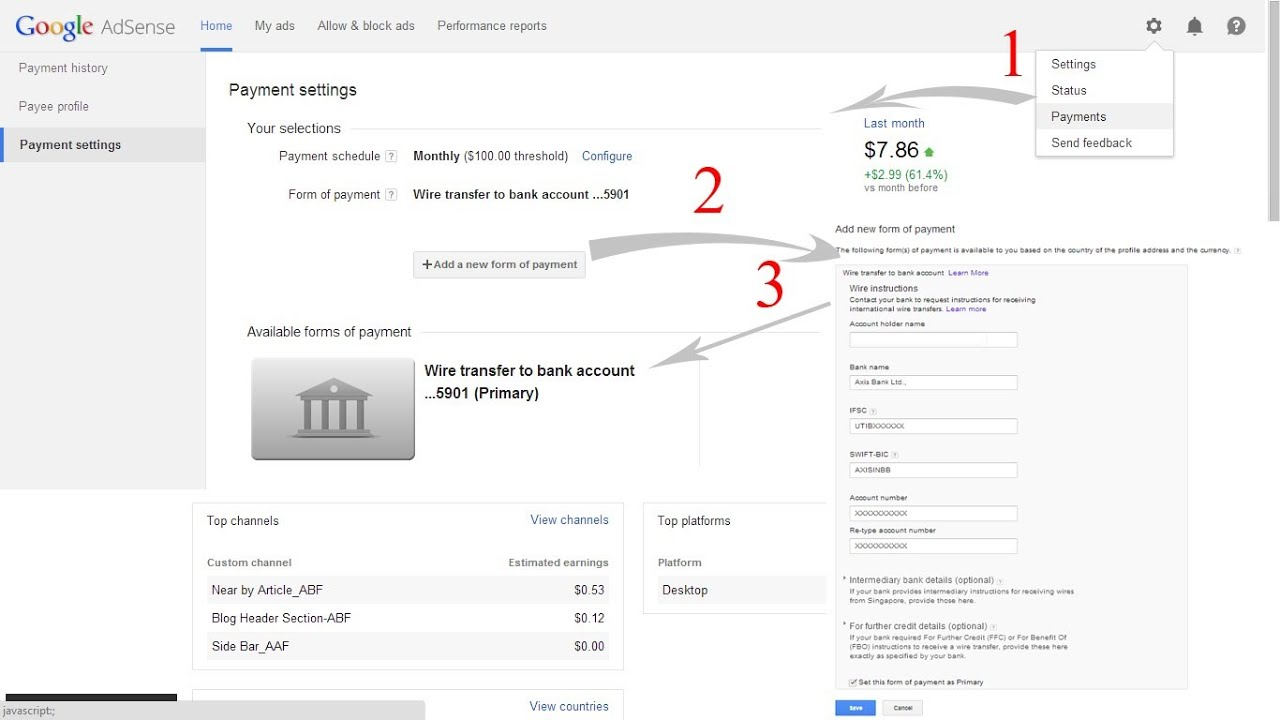 Link your Bank Account with Google Adsense for Wire Transfer - YouTube