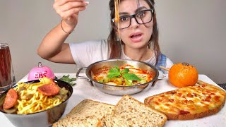 ASMR mukbang tteokbokki pizza & curry noodles and cheesy toast | eating sounds |