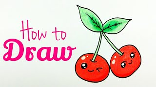 HOW TO DRAW CHERRY | Cherry Drawing Tutorial For Kids | Step by Step Tutorial ( Easy & Cute )