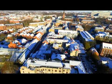 Drone flight over Lund City