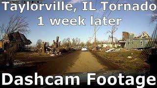 Taylorville IL Tornado Damage - Dashcam 1 Week Later
