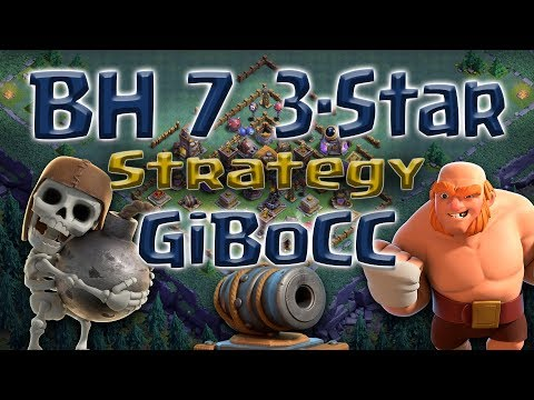 Clash of Clans - BH7 3-star attack strategy GiBoCC (Giants, Bombers, Cannon Carts)