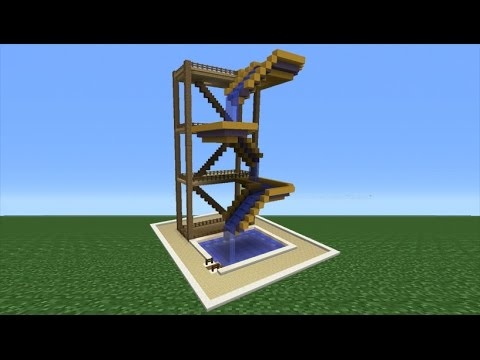 Minecraft Tutorial: How To Make A Drop Water Slide (Mini Water Park)
