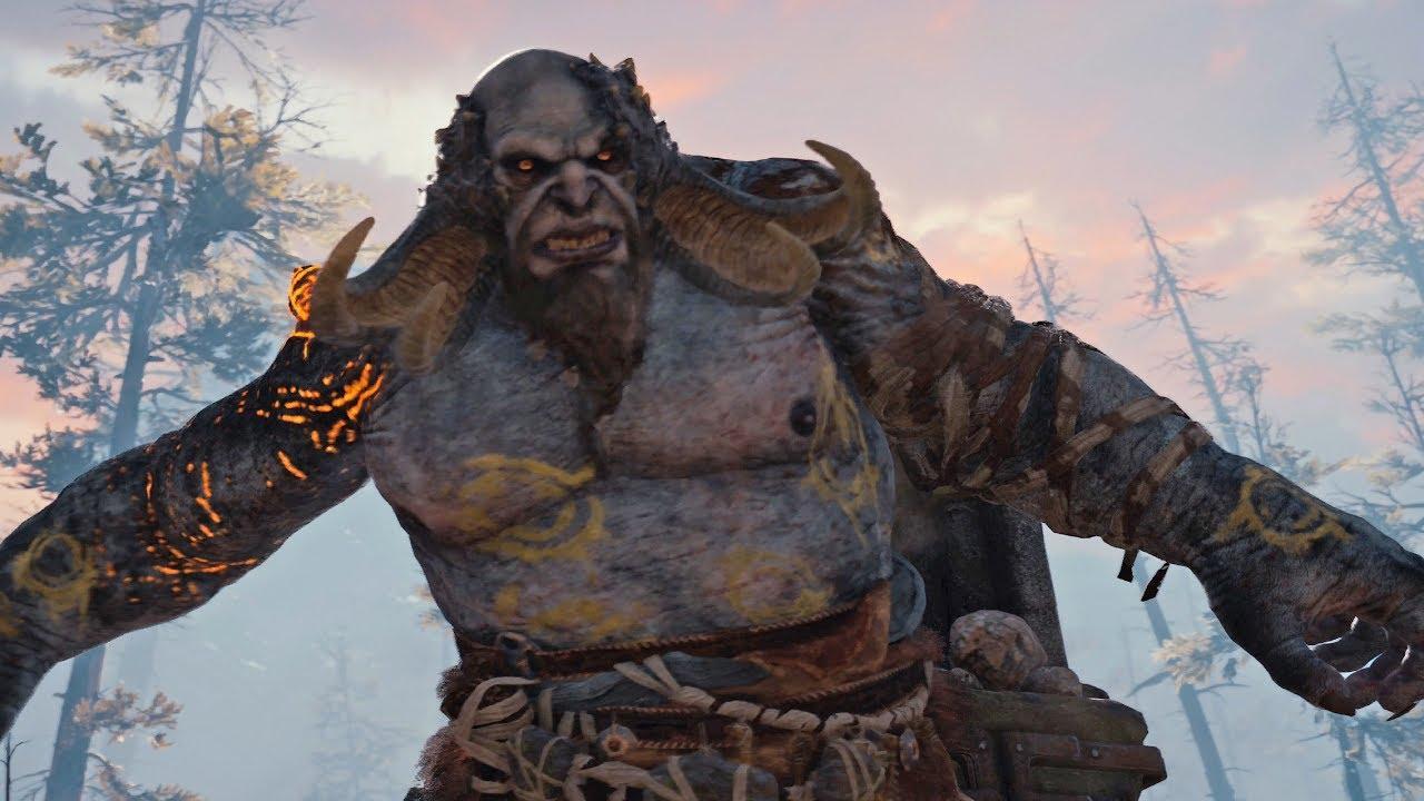 God of War PS4 - Troll Boss Fight #1 (Give Me God of War Hard Difficulty) (4K)