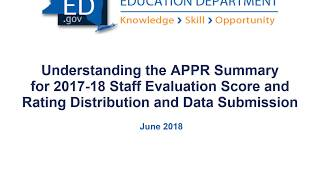 APPR Summary for 2017 18 Staff Evaluation