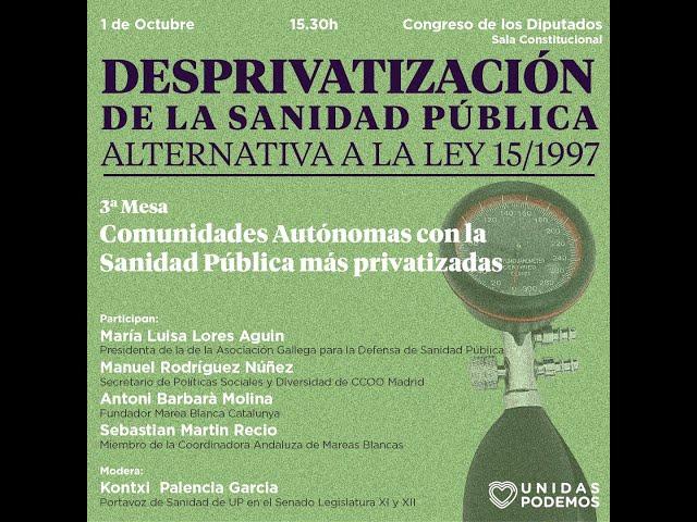 Comunidades Autónomas con la Sanidad Pública más privatizada