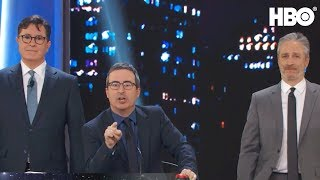 Stephen Colbert John Oliver Take Over The Stage Night Of Too Many Stars Hbo