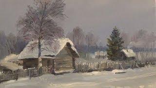 Урок живописи маслом для начинающих. Зимний пейзаж.