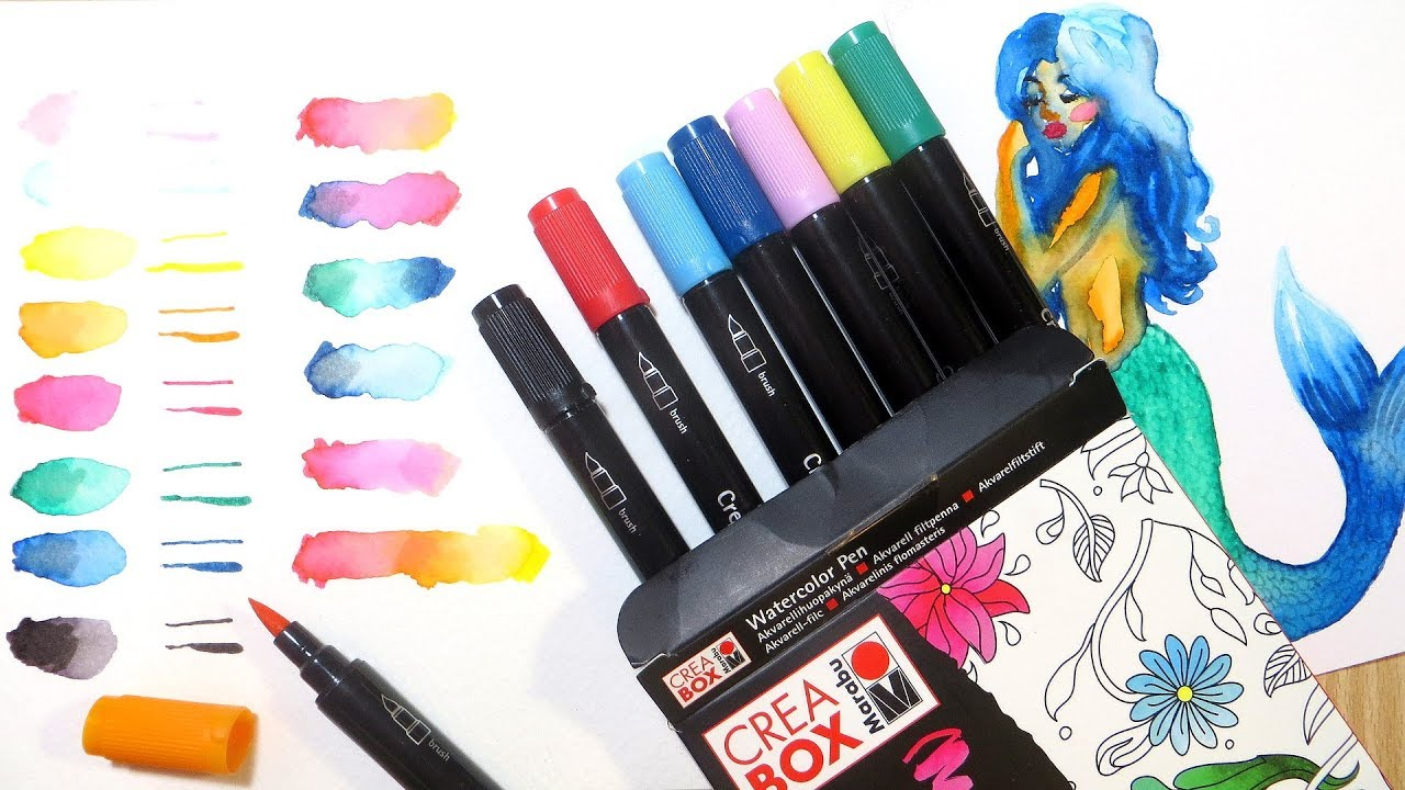 Watercolor Brush Marker Demo And Review Marabu Creabox