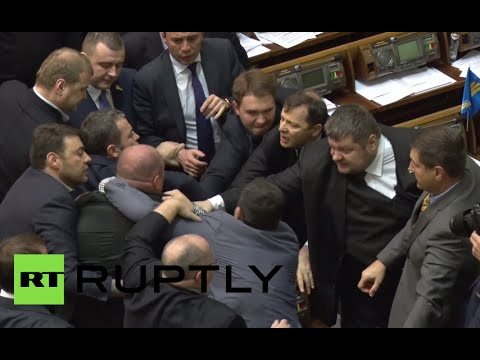 Rada brawl video: Fist fight erupts in Ukrainian parliament...again