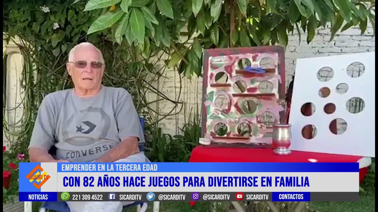 Tiene 82 años y hace juegos para divertirse en familia