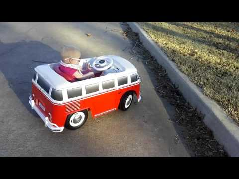 Her first ride on the RC Ride-On Walmart vw bus