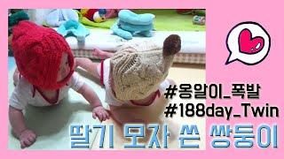 쌍둥이육아__아기 딸기 모자 & 옹알이 폭발