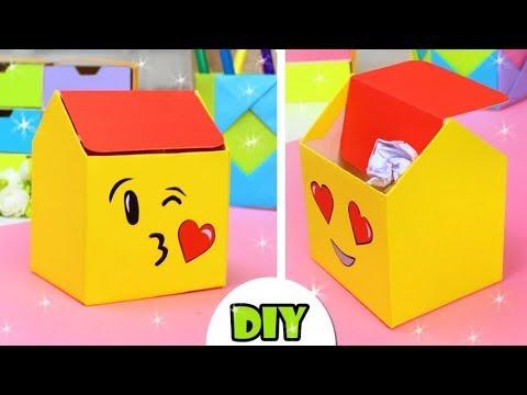 DIY EMOJI TRASH DESK ORGANIZATION IDEA FROM CARDBOARD | MAKING STEP BY STEP
