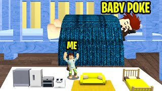 I Put A TINY HOME Under Baby Poke's Crib! (Roblox)