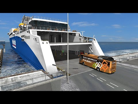 India Bus transported thru Ferry ship | Euro truck simulator 2 bus driving