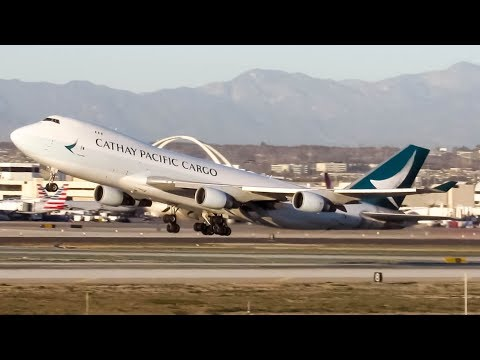 "Cathay Pacific Cargo ""New Livery"" Boeing 747-400F (B744) landing & departing Los Angeles (LAX/ KLAX)"