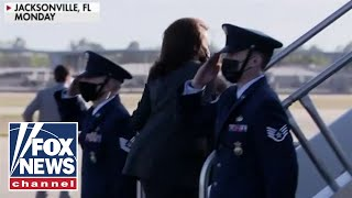 Kamala Harris avoids saluting military members