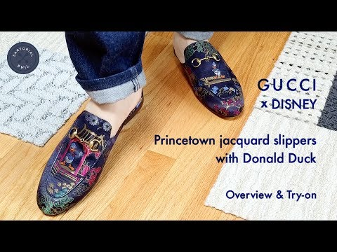 6e461a1f215 Gucci Princetown jacquard slipper with Donald Duck  Review   Try-on ...