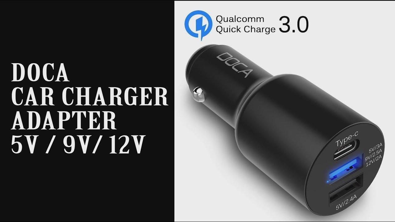 DOCA car charger adapter review - 5v / 9v / 12v