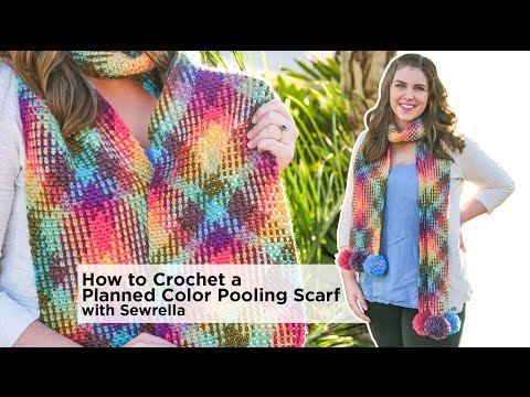 How to Crochet Planned Color Pooling Scarf with Color Waves by Sewrella