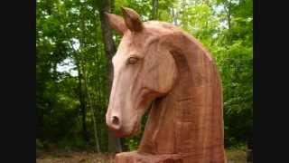 Horse Head Wood Sculpture In Progress, By Mark Poleski