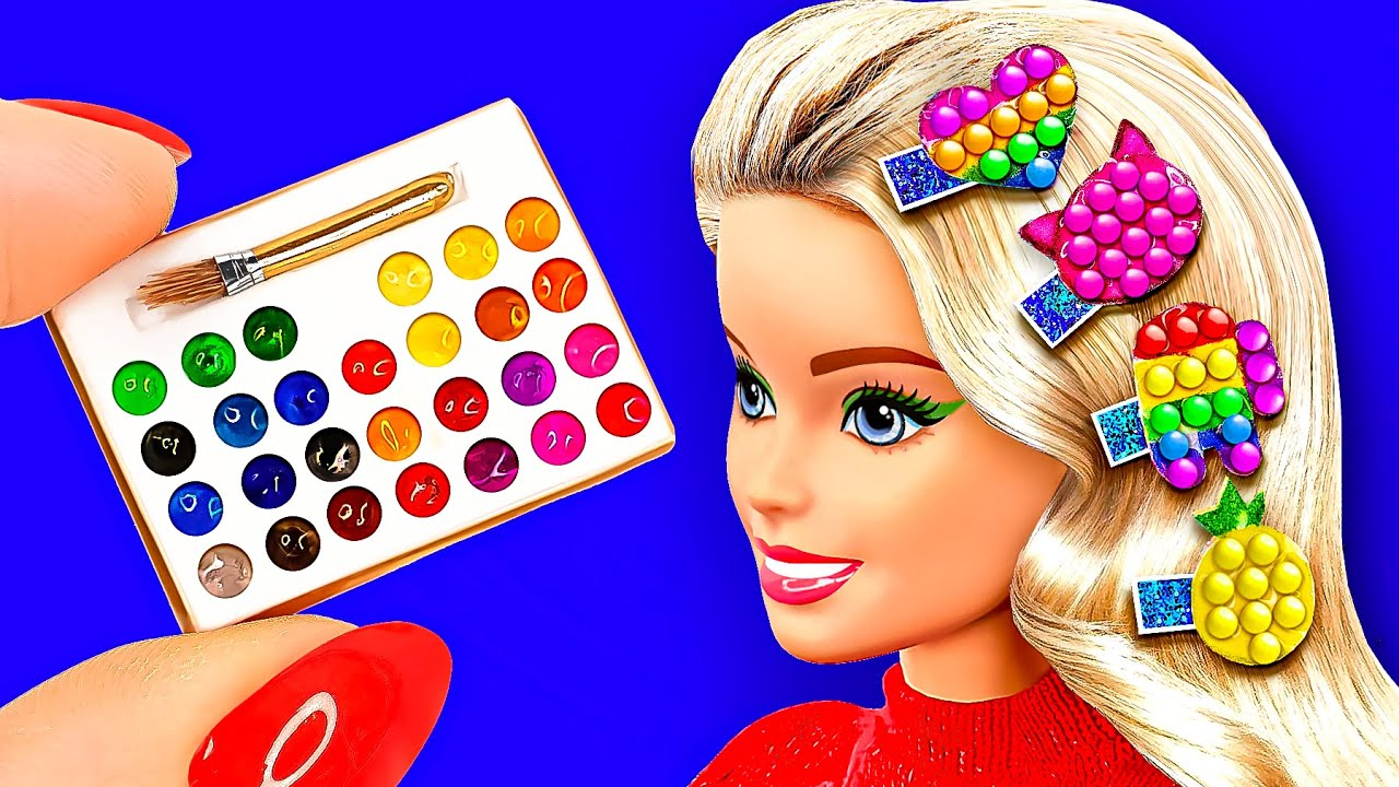 34 DIY Miniature Dollhouse crafts 〜 Pop It hair clips, Mini paints, Shoes for Doll and more