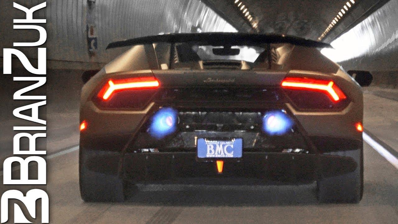 Lamborghini Huracan Performante Shooting Flames in Tunnel