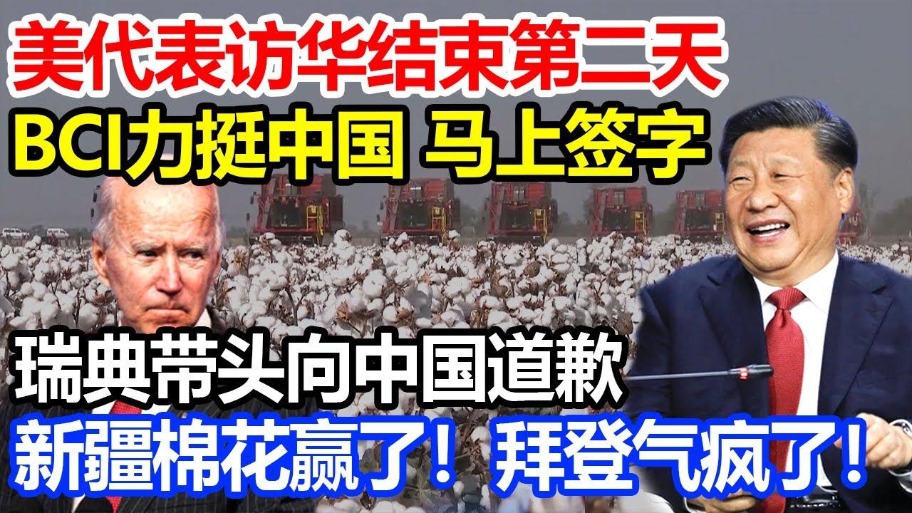 美代表访华结束第二天, BCI力挺中国马上签字,瑞典带头向中国道歉,新疆棉花赢了!拜登气疯了!